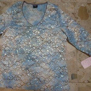 Lady's blue gold lace blouse by TRIBAL Gold trim L
